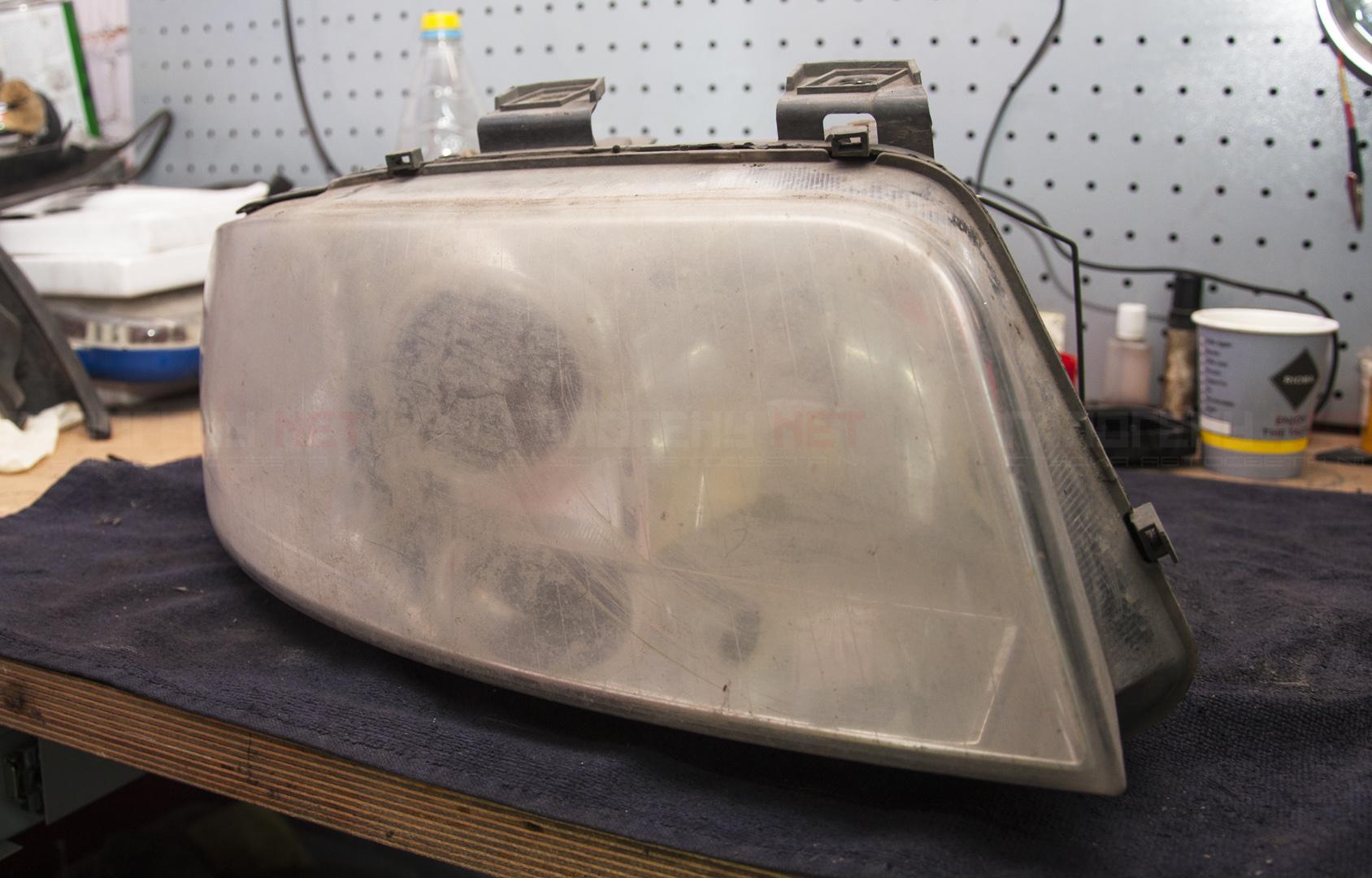 полировка стекол на фарах на audi a6 c5