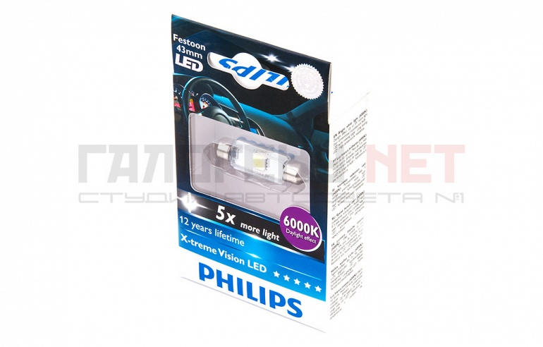 Светодиодная лампа Philips C5W X-Treme Vision LED 6000K 43mm (12946 6000KX1)