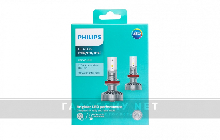 Светодиодные лампы Philips H8/H11/H16 Ultinon LED Fog 6200K (11366ULWX2)